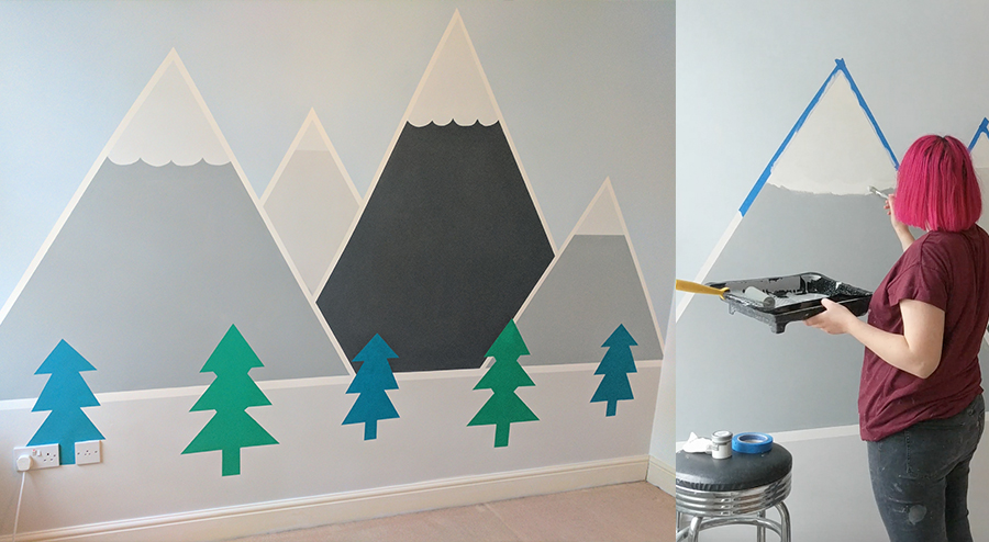 How to paint a detailed mountain wall mural for a kid s - How to paint murals on bedroom walls ...