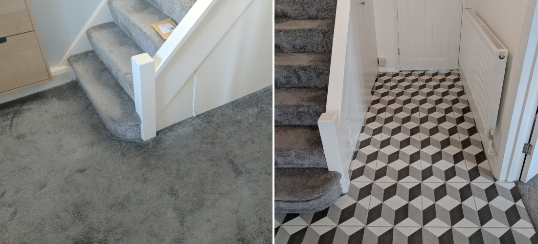 Tile Transformation Geometric Floor Tiles For A Hallway A